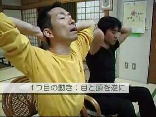 あべこべ体操1−1頭を上げるときに目を下げる