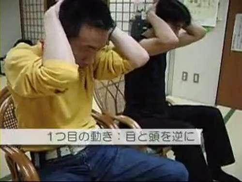 あべこべ体操1−2頭を下げるときに目を上げる